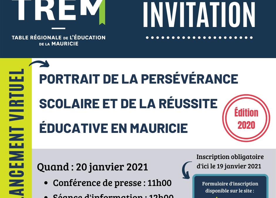 Lancement virtuel du portrait de la persévérance scolaire et de la réussite éducative – édition 2020